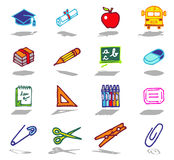 School icons set. Vector color hand drawn icons with shadow Royalty Free Stock Image