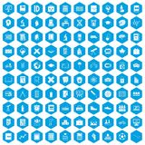 100 school icons set blue. 100 school icons set in blue hexagon isolated vector illustration Royalty Free Illustration