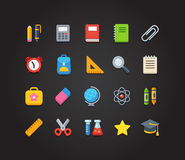 School icons. Set of bright colorful school and education vector icons: stationery, learning and science symbols and various school supplies Royalty Free Stock Images