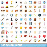 100 school  icons set, cartoon style. 100 school icons set in cartoon style for any design vector illustration Stock Image