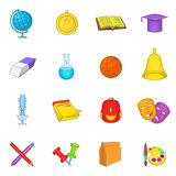 School icons set, cartoon style. School icons set in cartoon style. Education set collection cartoon style Vector Illustration