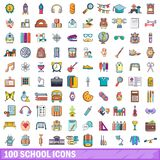 100 school icons set, cartoon style Royalty Free Stock Photo