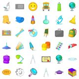 School icons set, cartoon style. School icons set. Cartoon style of 36 school vector icons for web isolated on white background Royalty Free Stock Images