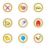 School icons set, cartoon style. School icons set. Cartoon set of 9 school vector icons for web isolated on white background Stock Photo