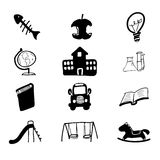 School icons set cartoon Stock Image