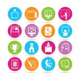 School icons. Set of 16 school icons in colorful buttons Royalty Free Stock Image