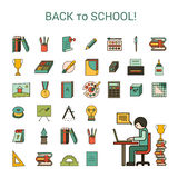 School icons. Set in a colorful flat style Royalty Free Stock Images