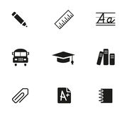 School Icons Set. School and Education Icons Symbol Stock Images