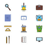 School icons set 3  EPS8. Vector Colorful School icons set Stock Images