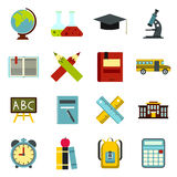 School icons set, flat ctyle Royalty Free Stock Images