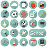 School icons set, flat design, text can be added. Vector illustration Stock Photography