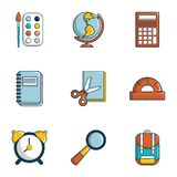 School icons set, flat style. School icons set. Flat set of 9 school vector icons for web isolated on white background Royalty Free Stock Photo