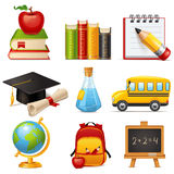 School icons. Set of 9 glossy cartoon school icons Royalty Free Stock Image