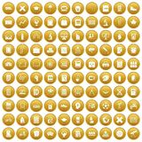 100 school icons set gold Royalty Free Stock Image