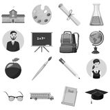 School icons set, gray monochrome style Stock Images