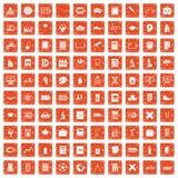 100 school icons set grunge orange. 100 school icons set in grunge style orange color isolated on white background vector illustration Stock Illustration