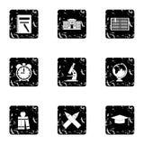School icons set, grunge style Royalty Free Stock Image