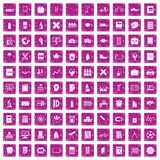 100 school icons set grunge pink. 100 school icons set in grunge style pink color isolated on white background vector illustration Royalty Free Stock Image