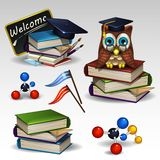 School icons set. Illustration of school icons set Royalty Free Stock Photo