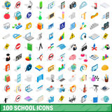 100 school icons set, isometric 3d style. 100 school icons set in isometric 3d style for any design vector illustration Stock Images