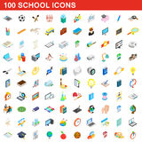 100 school icons set, isometric 3d style Stock Photo