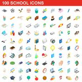 100 school icons set, isometric 3d style. 100 school icons set in isometric 3d style for any design illustration vector illustration