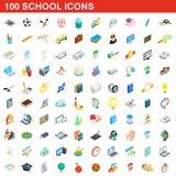 100 school icons set, isometric 3d style. 100 school icons set in isometric 3d style for any design illustration vector illustration