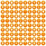 100 school icons set orange. 100 school icons set in orange circle isolated on white vector illustration stock illustration