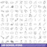 100 school icons set, outline style. 100 school icons set in outline style for any design vector illustration Stock Images