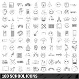100 school icons set, outline style. 100 school icons set in outline style for any design vector illustration Royalty Free Illustration