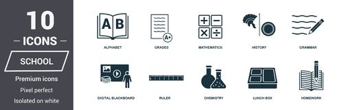School icons set. Premium quality symbol collection. School icon set simple elements. Ready to use in web design, apps, software, royalty free illustration