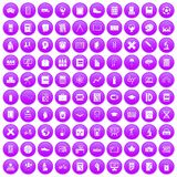 100 school icons set purple. 100 school icons set in purple circle isolated on white vector illustration stock illustration