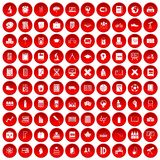 100 school icons set red. 100 school icons set in red circle isolated on white vector illustration Royalty Free Stock Photos