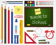 School icons set. School supplies. Education icons Stock Photography