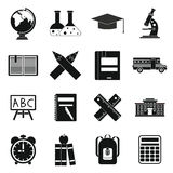 School icons set, simple  Royalty Free Stock Photography