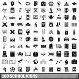 100 school icons set in simple style. For any design vector illustration Stock Photography