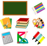 School icons. Set of icons on school subject Royalty Free Stock Photos