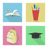 School icons. Set of icons on a school theme in a flat style royalty free illustration