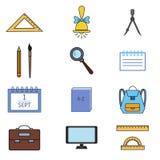 School icons set 4. Vector Colorful School icons set Stock Photo