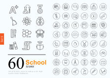 60 school icons Royalty Free Stock Images