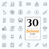 30 school icons. Set of school icons for website or print. 30 design line icons high quality, vector illustration Stock Image