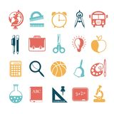 School icons set on white background. Vector illustration Royalty Free Stock Photos