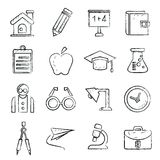School icons, sketch style Royalty Free Stock Image