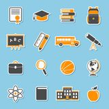 School icons stickers. Education collection. College training symbols Royalty Free Stock Photos
