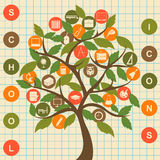 School icons tree. Set education  vector icons Royalty Free Stock Photos