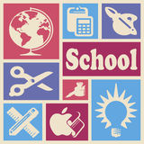 School icons. Wallpaper with school icons in colorful rectangles Royalty Free Stock Image