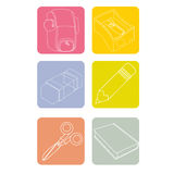 School icons. On white background Royalty Free Stock Images