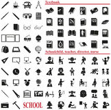School icons on white Royalty Free Stock Image