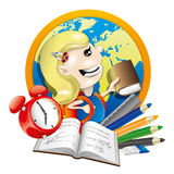 School illustration. Girl with book. Royalty Free Stock Photo