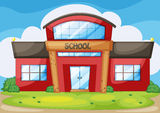 School. Illustration of a modern school Royalty Free Stock Images